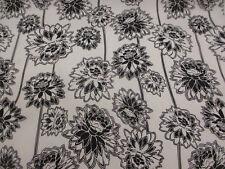 Bianco/NERO DENTE DI LEONE floreale SUPERIORE cotone rasatello misto con stampa