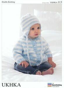 UKHKA 113 Double Knitting Pattern Kids Cardigan Helmet & Scarf 31-51cm 12-20in