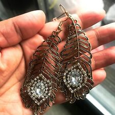 Peacock Feather Vintage Retro 1920s Large Eye Dangle Earring Clear Crystals