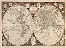 GIANT historic 1799 THOMAS KITCHEN ANTIQUE STYLE MAP OF THE WORLD FINE art print