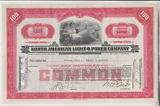 1935 NORTH AMERICAN LIGHT & POWER COMPANY STOCK CERTIFICATE - DELAWARE
