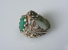 antik orient afghan massive silber Grüne turmalin Ring tourmaline silver Nr-15