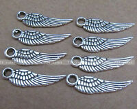 P010 50pcs 5*17mm Tibetan Silver Feather Charm Double-sided Beads Wholesale