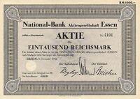 NATIONAL-BANK AG Essen hist Bank Aktie 1942 Ruhrgebiet Bochum Oberhausen Münster