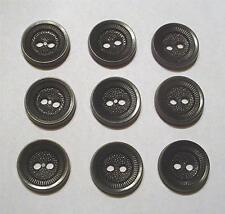 "SET OF NINE VINTAGE 1950's BLACK 5/8"" ROUND 2-HOLE PLASTIC SEWING BUTTONS"