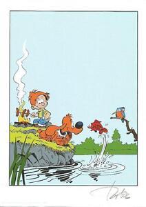 Boule et Bill Roba - ex libris sérigraphie tirée à 100 exemplaires Signé