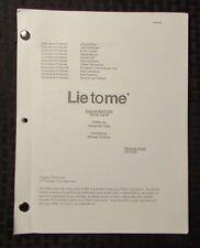 2009 LIE TO ME TV Show Script Episode #2APW09 Secret Santa FVF 47 pgs 10/13/09 B