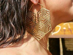 Tribal Geometric Celine Design Earrings Brass Gold Plated Mandala XL Large hoops