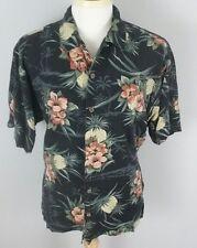 Tommy Bahama Large Men's Black Pineapple Print Silk Hawaiian Shirt
