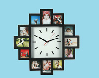 Modern Wall Clock With 12 Family Photo Frame Family Picture Black Frame Gift New