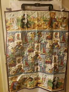 Quilt Handmade Front Back Baby Tractors Teddy Bears ABC's Animals 40in X 31in