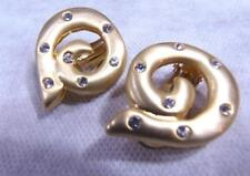 Vintage Brushed  Gold Tone RHINESTONE Quality Clip Earrings Huge Runway Couture