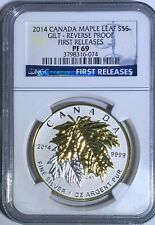 2014 NGC PF69 REVERSE PROOF GILT CANADA MAPLE LEAF FIRST RELEASE $5