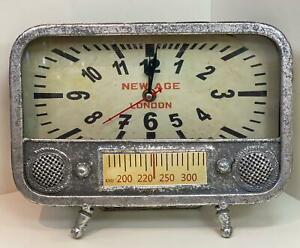 Vintage Silver Standing Clock Time Decor Antique Tube Radio Rectangle  Statue