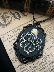 Kraken Cthulhu Black Steampunk Octopus Necklace Pendant Cameo Gothic  Squid
