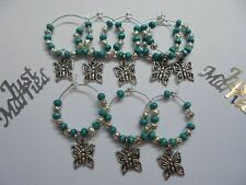 60 Teal Wine Glass charms with filigree butterfly -  Wedding Favour