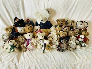 Large Vintage Lot Boyd's Bear Plush 28 Piece Collection, Most With Tags Cat Dog