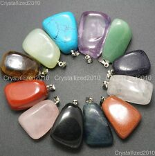 Natural Gemstones Free Formed Nugget Reiki Chakra Healing Pendant Charm Beads