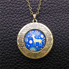 Blue Deer Flowers Cabochon LOCKET Pendant Bronze Chain Necklace USA Shipper #51