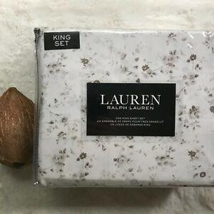 Lauren by RALPH LAUREN Luxury Cotton Painted Floral Printed KING Sheet Set NEW