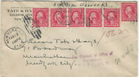 U.S., 2c Washington, 6 Stamps, Used on 1915 Special Delivery Cover, Fee Claimed