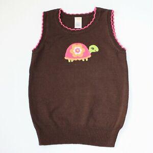 Gymboree Growing Flowers Brown Turtle Sweater Vest size M 7 8