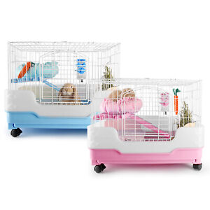 Rabbit Chinchilla Bunny Pet Cage Luxury Cage Crate Tray Urine Guard Castor Blue