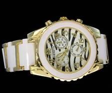 Womens Fashion 39mm Two Tone Zebra Stripe Geneva Quartz Wrist Watch