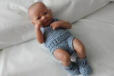"""New Born  BERENGUER Boy BABY DOLL 14"""" Vinyl hand knitted clothing"""