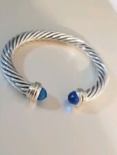 David Yurman Sterling Silver 7mm Blue Topaz  And 14K Gold Cable Cuff Bracelet