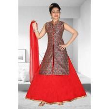 Girls Indian Pakistani Lehenga Choli ethnic Wedding wear Red with Sparkling gold