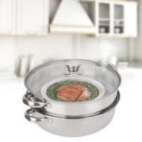 27CM Set per pentole per cottura a vapore Coperchi in vetro per alimenti Pan