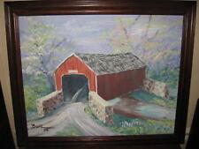 Pennsylvania Covered Bridge Joan Biehl Kutztown, PA Original Signed Oil Painting