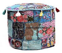 Pouf Ottoman cover Indian Saree Pouffe Round Poof Foot Stool Pillow Ethnic Decor