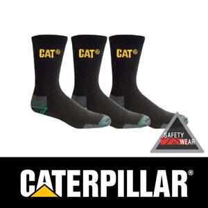 3x Cat Bamboo Socks Pairs Work Caterpillar Black Anti Bacterial CP235300