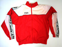 DIADORA 80s 90s Tracksuit Vintage Track Jacket Casual Classic Red Size M Medium