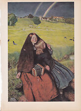 "1939 Vintage ""THE BLIND GIRL"" by MILLAIS DBL. RAINBOW Color Art Plate Lithograph"