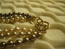 KENNETH JAY LANE 3 STRAND COPPER AND CHAMPAGNE COLORED FAUX PEARLS, SIGNED