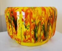 MCM California Art Pottery Planter Yellow Orange Red Green Drip Glaze c.1960
