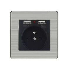 Enchufe pared con cargador USB incorporado x2 SALIDAS USB 2.1A 5V marco inox
