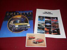 1981 CHEVY CHEVETTE SALES BROCHURE + POSTCARD & 81 CHEVROLET FULL-LINE CATALOG