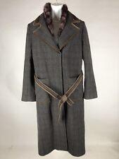Hillary Radley Womens Coat Belted Fake Removable Fur Trim Wool Blend 12