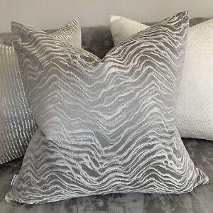"Luxury Cushion Cover 18"" Ashley Wilde Designer Fabric Grey Decor Zebra Design"