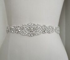 Clear Stone Pearl Wedding Bridal Dress Sash Belt = 14 1/2 inch long