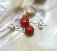 925 Silver Stud Earring 8Mm Red Coral Round Beads