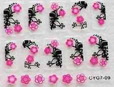 Nail art: 10 stickers bijoux d'ongles: Doubles fleurs roses -fond noir design
