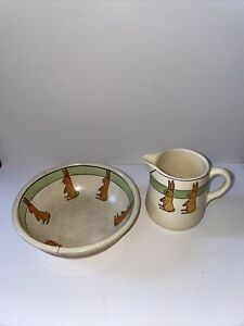 Antique 1920's Roseville Pottery, Child's Milk Pitcher & Bowl Standing Rabbit
