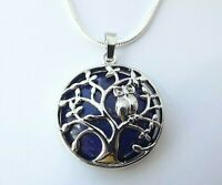 GEMSTONE TREE OF LIFE BLUE STONE NECKLACE GIFT BOX 22 INCH SILVER CHAIN BIRTHDAY