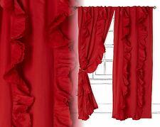 "2 Wandering Petals Curtains Red 50""x84"" 1 Pair Linen Cotton Voile"