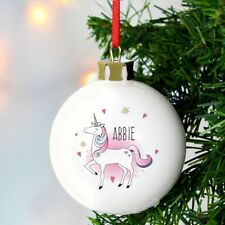 Personalised Unicorn Christmas Tree Bauble Personalised Unicorn Xmas Bauble